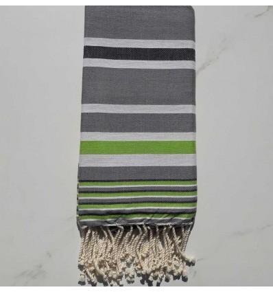 Fouta Dina gris rayée blanc, gris noir et vert