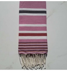 Fouta Dina rose rayée blanc, anthracite et rouge