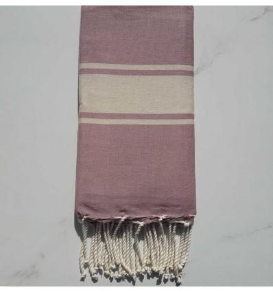 Fouta Plate rose violacé rayée écru