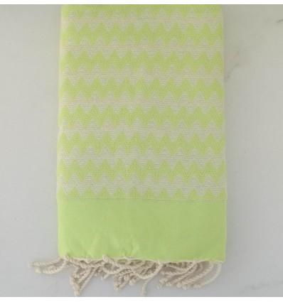 Fouta zigzag vert lime
