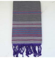 Fouta arabesque violet pale rayée gris anthracite