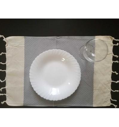 Mini fouta blanc crème et gris