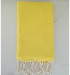 FOUTA Nid d'abeille unie jaune fluo