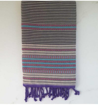 Fouta arabesque écru