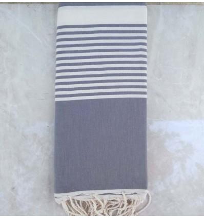 Grande fouta gris bleu avec rayures