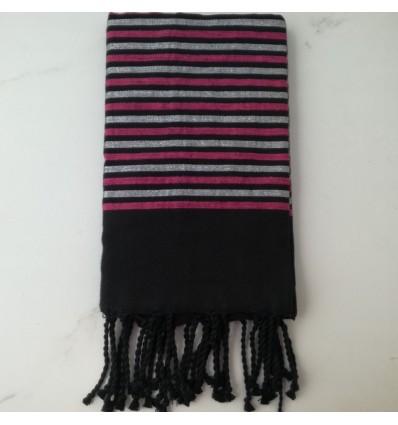 Fouta Lurex plate noir, rose et argenté