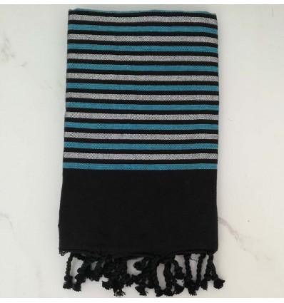 Fouta Lurex plate noir, bleu et argenté