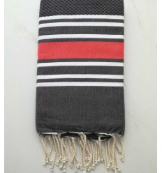 Fouta nid d'abeille gris anthracite rayée rouge anglais