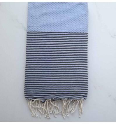 Fouta bleu pompadour rayée noir