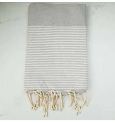 FOUTA NID D'ABEILLE gris perle rayée blanc