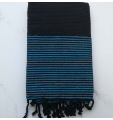 FOUTA Lurex NID D'ABEILLE noir rayée bleu azur