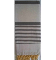 grande fouta gris perle rayée gris anthracite