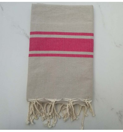 Fouta Plate taupe clair rayée rose