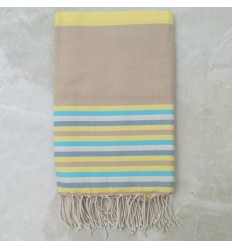 Fouta Plate beige, jaune, bleu azur, blanc crème et bleu horizon