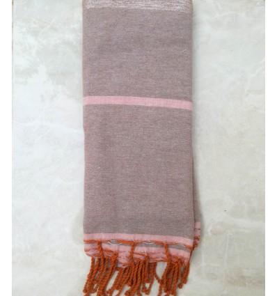 Jeté taupe clair et rose avec lurex 1.5m*2.5m