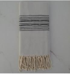 Fouta thalasso avec motifs anthracite