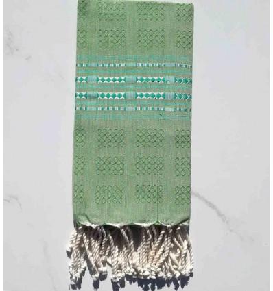 Fouta thalasso vert moyen avec motifs