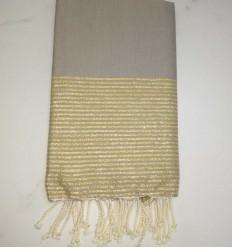 FOUTA Lurex plate gris tourtelle au fil lurex doré