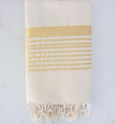 Grande fouta blanc crème au fil lurex doré