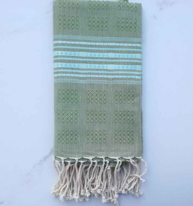 Fouta thalasso vert avec motifs turquoise