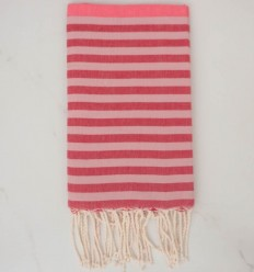 Fouta rose, rouge et rose pale