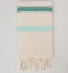 Fouta arabesque blanc crème, vert et turquoise