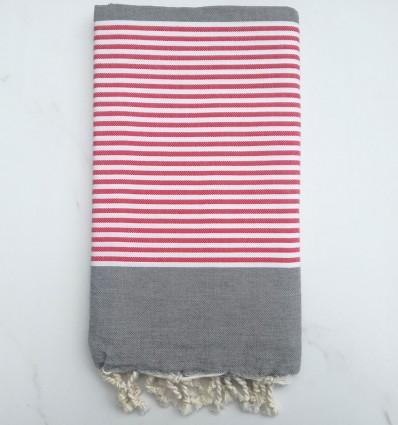 Fouta plate gris rayée rouge et blanc