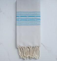Fouta thalasso gris bleu clair avec motifs azur