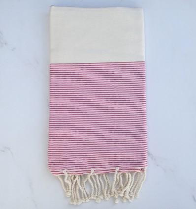 Fouta plate blanc crème et rose bébé avec rayures