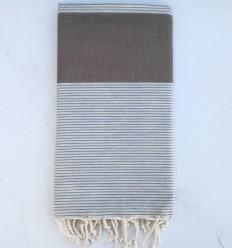Fouta plate bistre et gris perle avec rayures