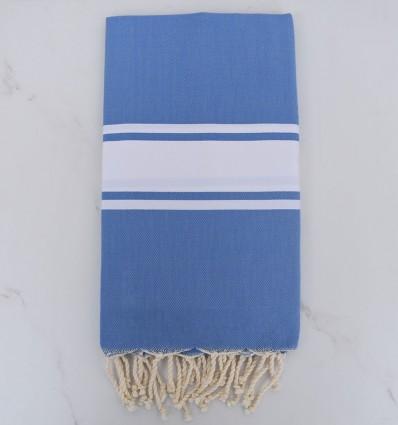 Fouta Plate bleu bleuet