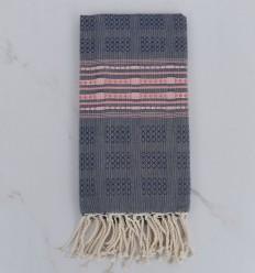 Fouta thalasso bleu avec motifs rose
