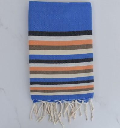 Fouta plate 6 couleurs bleu, anthracite, gris clair, orange, bistre clair et crème