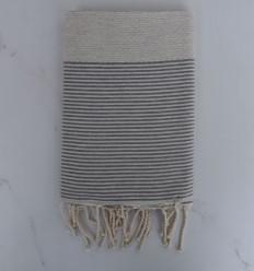 Fouta nid d'abeille beige clair rayée gris