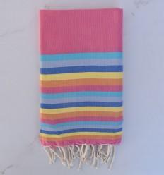 Fouta plate 6 couleurs rose, azur, bleu gris,bleu ,jaune et orange