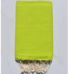 Fouta nid d'abeille unie vert lime