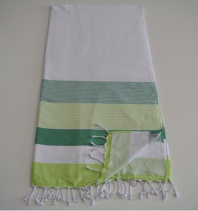 Fouta éponge blanc, vert et vert anis