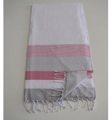 Fouta éponge blanc, rose et gris