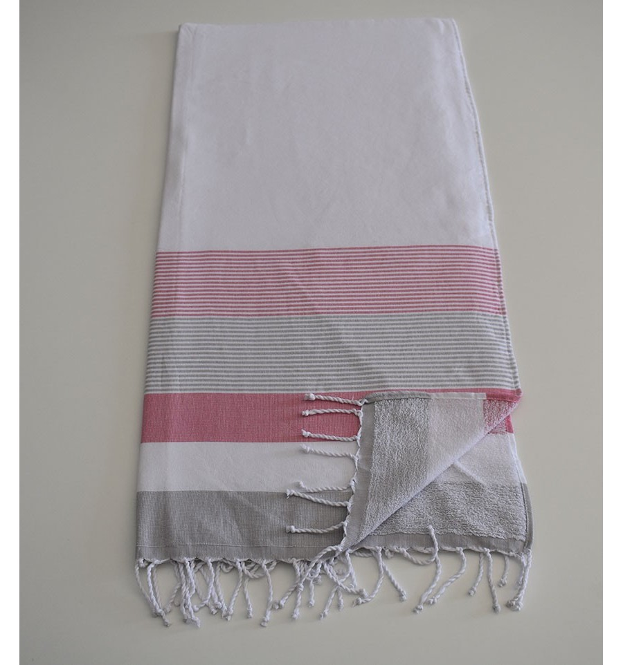 fouta ponge blanc rose et gris fouta tunisia. Black Bedroom Furniture Sets. Home Design Ideas