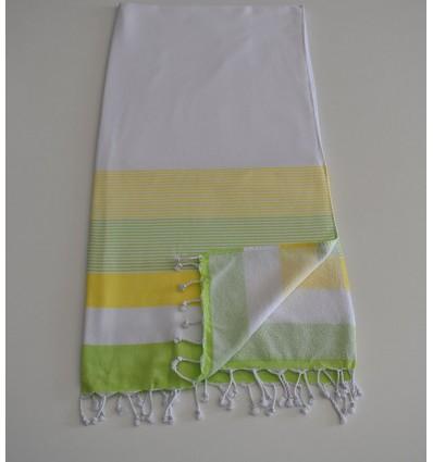 Fouta éponge blanc, jaune chartreuse et vert clair