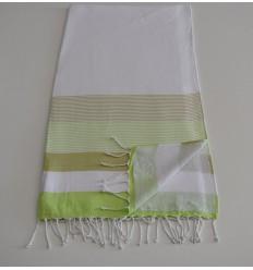 Fouta éponge blanc, vert clair et kaki clair