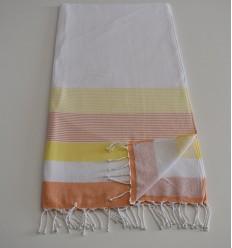 Fouta éponge blanc, jaune et orange