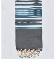 Fouta arabesque gris avec rayures bleu clair