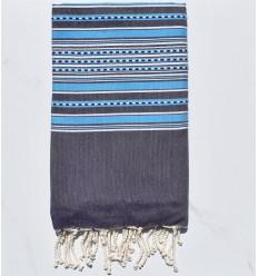 Fouta arabesque violet foncé avec rayures bleu