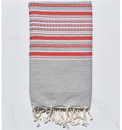 Fouta arabesque gris clair avec rayures rouge