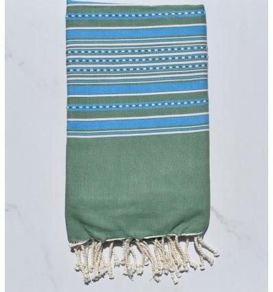 Fouta arabesque vert avec rayures bleu