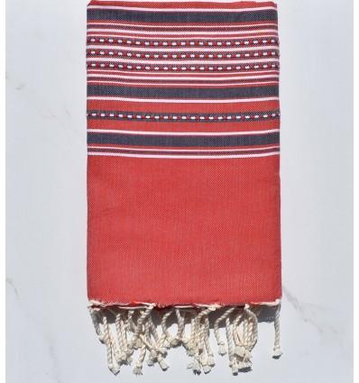 Fouta arabesque rouge avec rayures violet d'évèque