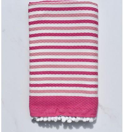 Fouta blanc cassé et rose avec pompons