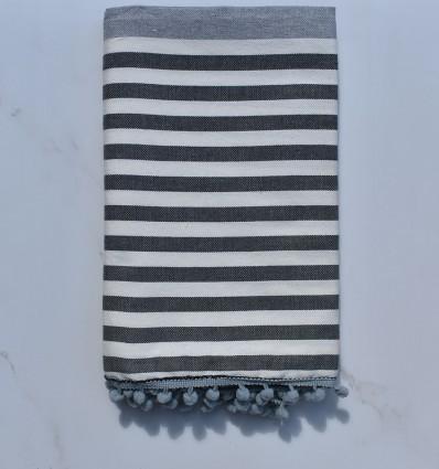 Fouta blanc cassé, gris et gris foncé avec pompons