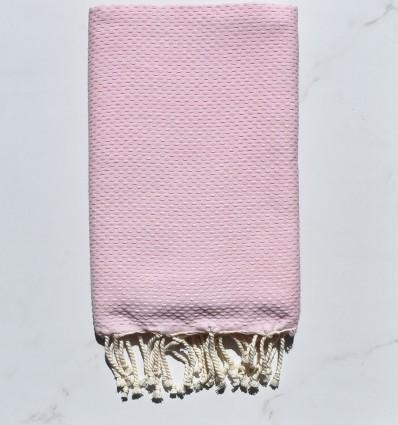 Fouta nid d'abeille unie rose dragée clair